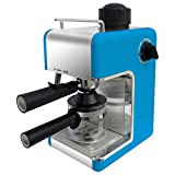 Bene Casa Stainless Steel 4-Cup Blue Espresso Maker with Frother