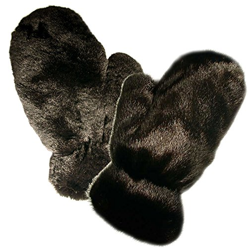 MinkgLove Combination Massage Glove, Mink and Rex Rabbit, Alternating Sensations Silky Smooth and Velvety Soft, Black, Hand Tailored, Unisex - Double Sided Fur by MinkgLove