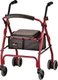 NOVA Medical Products Cruiser Classic Rolling Walker with Weight Activated Brakes, Red