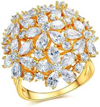 Redbarry Flower Cluster Best Craft Pear Cut CZ 25mm Cocktail Party Ring, Size 5.5 to 9