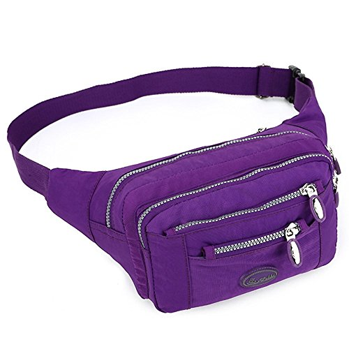 TOP-UP women's Solid Color Fanny Pack,Nylon Waist Bag 5 Zippered Compartments Tour Lumbar Pack Sports Bag (Purple) (Tour Fanny Pack)