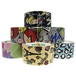 6 Rolls Bulk Lot Pack Duck Duct Tape Colored Patterns Designs 1.88\