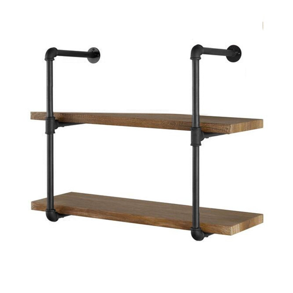"Yuanshikj 2Pc (28"" Tall) (12""deep) Industrial Wall Mount Iron Pipe Shelf Shelves Shelving Bracket Vintage Retro Black DIY Open Bookshelf DIY Storage Office Room Kitchen (2 Pcs 3Tier Hardware Only)"