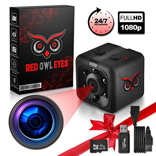 🥇 RED OWL EYES Spy Camera – Mini Hidden Camera 1080P Night Vision – Easy to Use Mini Camera Spy Wireless – Spy Cam Motion Detection – Nanny Camera – Small Camera – Secret Camera – 24/7 Recording