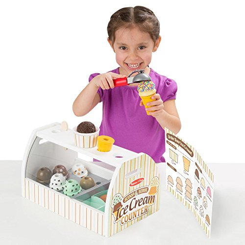 51v6FbhX1yL - Melissa & Doug Wooden Scoop and Serve Ice Cream Counter (28 pcs) - Play Food and Accessories