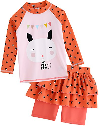 Long Short Set (Vaenait baby Kids Girls Rashguard Swimsuit Long Shirt and Shorts Set Mingo Cat XL)