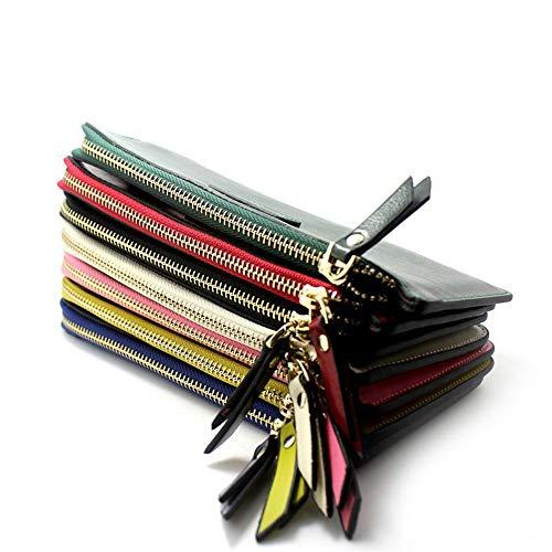 Ultrathin cuir Long Clutch Yellow Sac Color Zipper à en Red Purse véritable main Femmes TdznqZxT