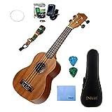 Mahogany Concert Ukulele Starter Kits for Beginner with Tuner, Strap, Padded Bag, Strings, Wipe, Picks (23 inch)