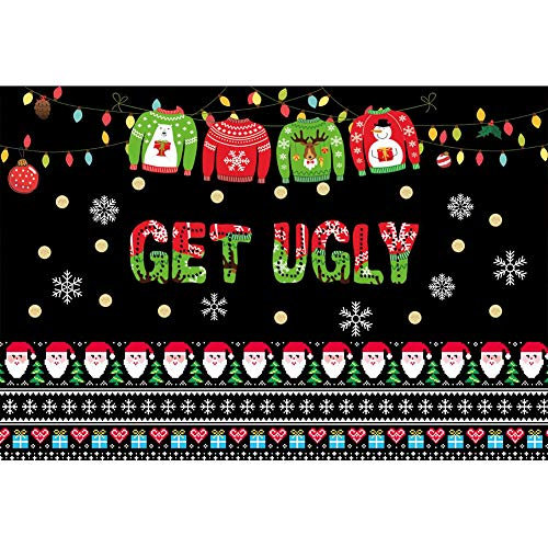 Laeacco 5x4ft Ugly Sweater Party Backdrop Santa Claus Snowflake Xmas Sweater Pattern Get Ugly Photography Background Banner Winter Christmas Theme Party Kids Adult Portrait Shoot Photo Props]()