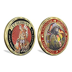 St. Florian Patron Saint of Firefighters Challenge Coin United States Prayer from amzcoin