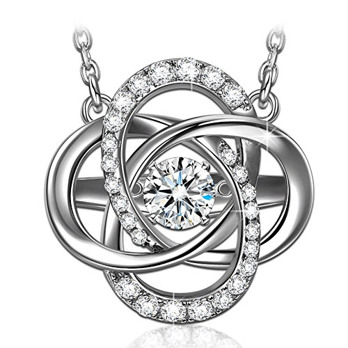 (Dancing Heart Birthday Necklaces for Women Fine Jewelry S925 Sterling Silver Necklaces Dancing Stone Jewelry Birthday Gifts for Her Cubic Zirconia Necklaces for Girlfriend Gifts for Mom)
