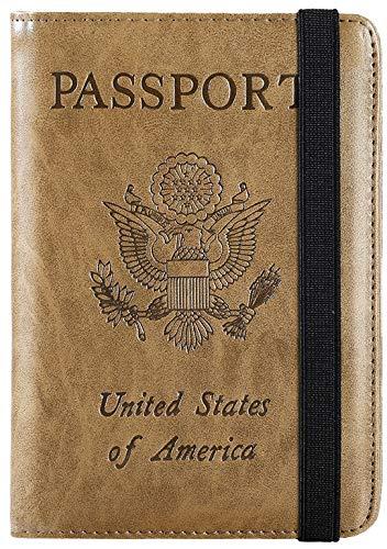 Passport Holder Cover Wallet RFID Blocking Leather Card Case Travel Document Organizer (Brown)