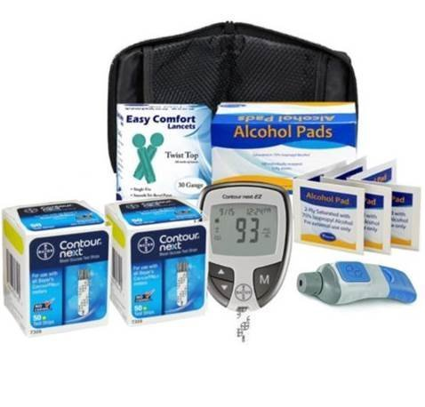Bayer-Contour-Next-Ez-Meter-Bayer-Contour-Next-Test-Strips30g-Lancets-Lancing-DevicesAlcohol-Prep-Pads-by-Diabetes-Testing-Kit