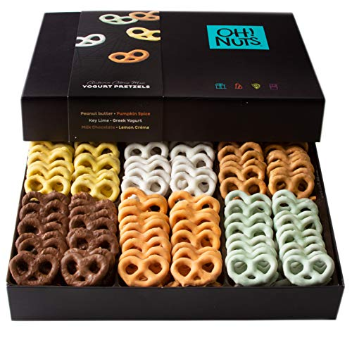 Oh! Nuts Chocolate Covered Pretzels Christmas Fall Gift Baskets, 6 Variety Milk & Dark Yogurt Assorted Gift Basket Set For Prime Holiday, Sweet Treats Candy Family Ideas Box Mom Dad Men Women Delivery (Christmas Chocs)