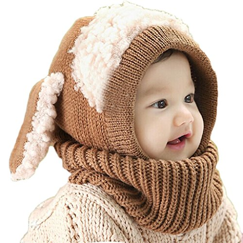 FEITONG Cute New kids Girls Boys Beanie Pilot Aviator Crochet Earflap Hats Winter Warm Cap Hat (Z-Khaki) ()