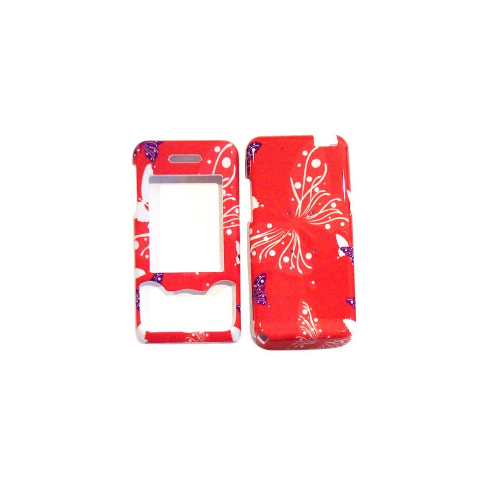 Hard Plastic Snap on Cover Fits Sony Ericsson W580i Butterfly Dot/Hot Pink