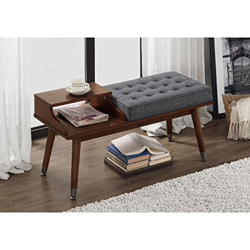 Granite Grey Tufted Upholstered Walnut Wood Storage Bench Includes Custom Mouse (Custom Storage Bench)