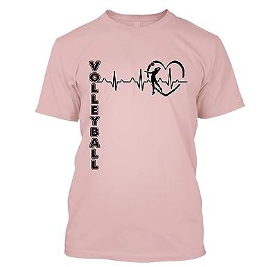 5b4b72c3 BigTees Volleyball T Shirt - Volleyball Heartbeat Cool T Shirts Design  Unisex (S,Pink