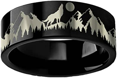 Thorsten Animal Nature Landscape Reindeer Deer Stag Mountain Range Ring Tungsten Ring 12mm Wide Wedding Band from Roy Rose Jewelry