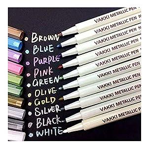 Rotuladores metálicos, rotuladores Vakki, juego de 10 colores surtidos para dibujo de álbum de fotos / regalo de cumpleaños por bricolaje Tarjeta para hacer bricolaje Pintura de roca Vidrio 51v6GkanjJL