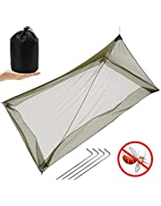 MAIKEHIGH Mosquito Net for Camping Single Bed, Compact Lightweight Portable Insect Net for Outdoor Indoor Sleeping Bag Travel, Army Green