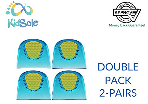 2 Pair - 4 Heel Cups - KidSole Slim Lightweight Gel Heel Cups For Kid's With Sensitive Heels, Heel Spurs, Plantar Fasciitis, or Ankle Pain