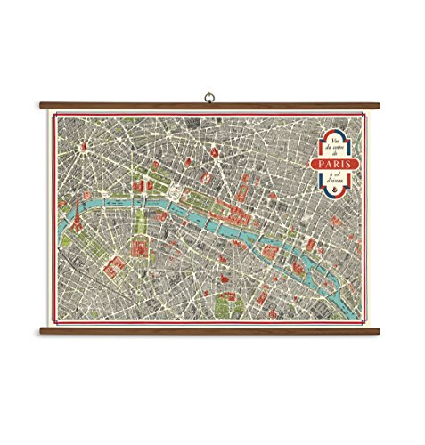 Cavallini Paris Map Vintage School Chart