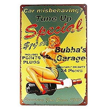 Amazon Com Dytrade Bubba S Garage Retro Metal Tin Sign Homewares