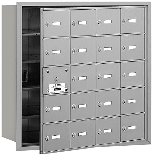 Salsbury Industries 3620AFP 4B Plus Horizontal Mailbox with Master Commercial Lock, 20 A Doors 19 Usable, Front Loading, Private Access, Aluminum