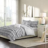 Intelligent Design Waterfall Comforter Set Full/Queen Size - Grey, Ruffles – 5 Piece Bed Sets – Ultra Soft Microfiber Teen Bedding for Girls Bedroom