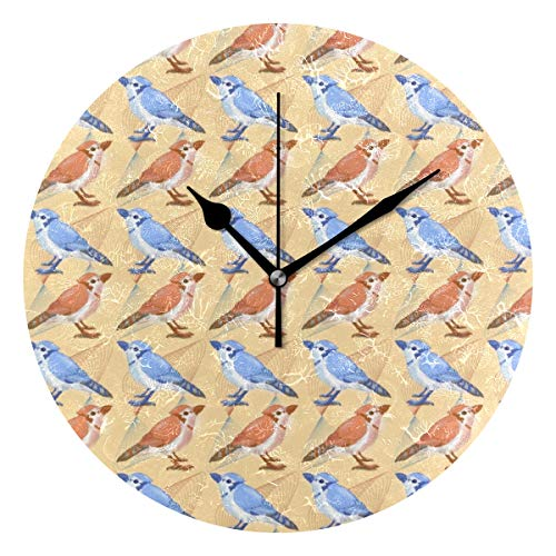 - HCMusic Round Blue Jay Birds Wall Clock- Non Ticking Digital Quiet Sweep Clock, Decorative for Office Living Room Bedroom, 10 Inch