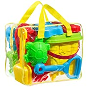 GoToys Beach sand toy set, Models and Molds, Bucket, Shovels, Rakes, Mesh bag with pull strings for easy clean, & Reusable Zippered Bag, etc. will keep your child motivated for hours, colors may vary.