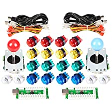EG STARTS Classic Arcade DIY Kit Parts 2x USB LED Encoder To PC Consols Games + 2x 4/8 Ways Joystick + 20x 5V Illuminated Push Buttons For Mame Jamma Raspberry pi ( Red / Blue Stick + MIX Color Buttons)