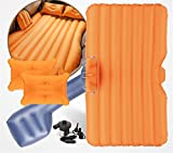 STAZSX Car bed car mattress universal car inflatable bed, orange oxford cloth-135x78CM
