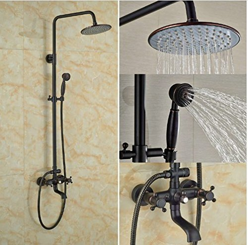Gowe Oil Rubbed Broze Shower Set With Hand Shower 8-in Rainfall Shower Faucet Wall Mounted 1