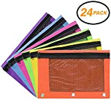 Emraw Zippered Pencil Pouches with 3-Ring Grommet Holes & Quick View Mesh & Clear Vinyl Pocket - Colors Included: Blue, Purple, Lime Green, Pink, Yellow, Orange (24 Pack)