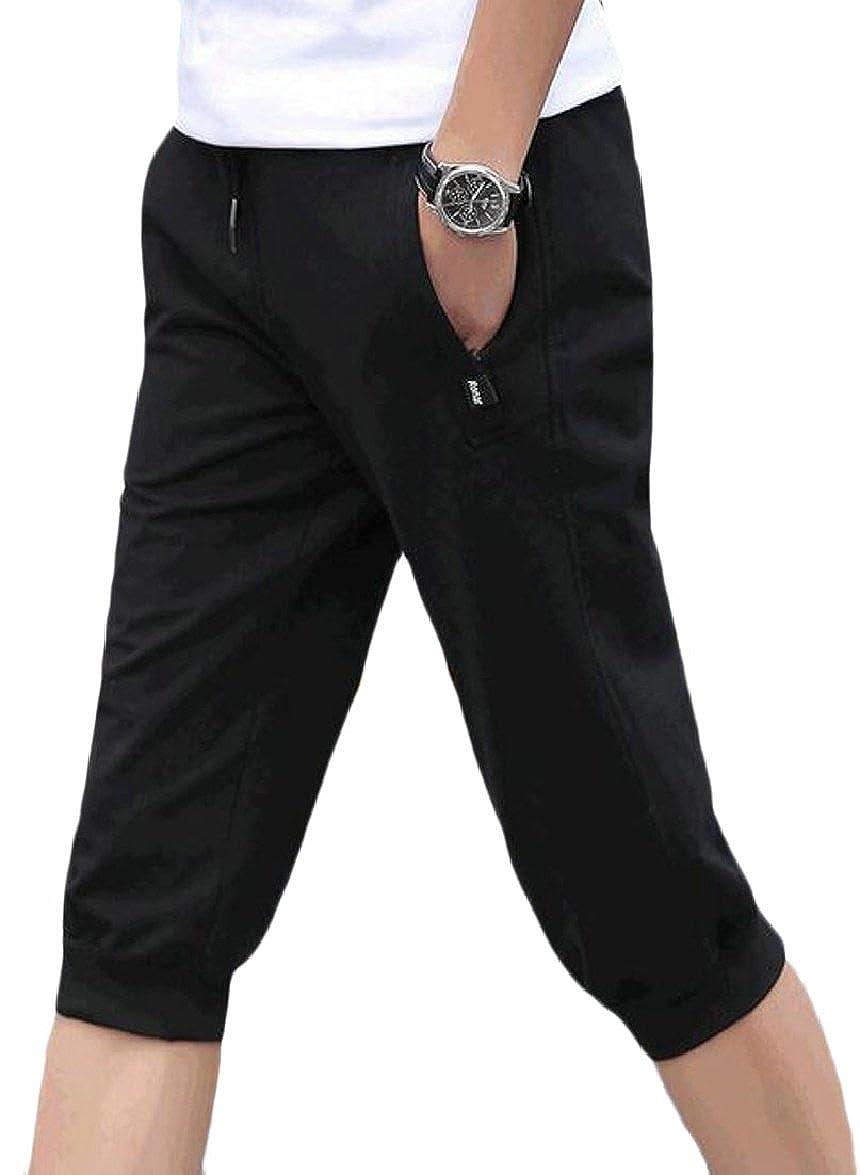 ONTBYB Mens Elastic Waist Casual Training Jogger Sport Short Pants