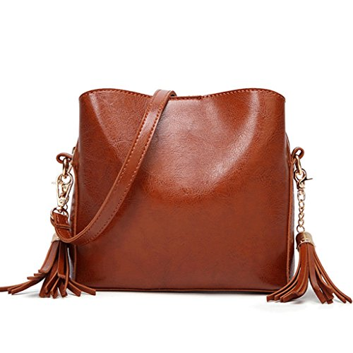 Handbag Bag Pu Leather Women Shoulder Bag Tassel Leather Belt Package Diagonal Oil Leather + (color: 2 #) 1 #