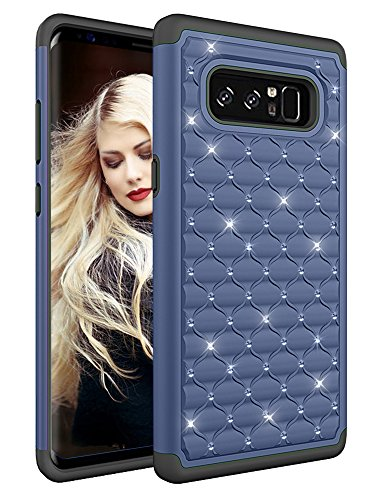 Samsung Galaxy Note 8 Case, ZAOX Hybrid Heavy Duty Shockproof Diamond Studded Bling Rhinestone Case with Dual Layer [Hard PC Plus Soft Silicone] Impact Protection (Navy (Diamond Bling Hard Case)