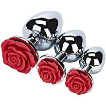 ZLOSKW 3 Pcs 3 Size A-n-a-l P-l-u-g-s Rose Shaped Base, Super Stimulation Unique Exciting Waterproof Massager Metal Jeweled G-spot A-n-a-l P-l-u-g-s Butt Trainer Toys for You And Your Lover