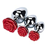 3 Pcs 3 Size A-n-a-l P-l-u-g-s Rose Shaped Base, Super Stimulation Unique Exciting Waterproof Massager Metal Jeweled G-spot A-n-a-l P-l-u-g-s Butt Trainer Toys for You And Your Lover (Red)