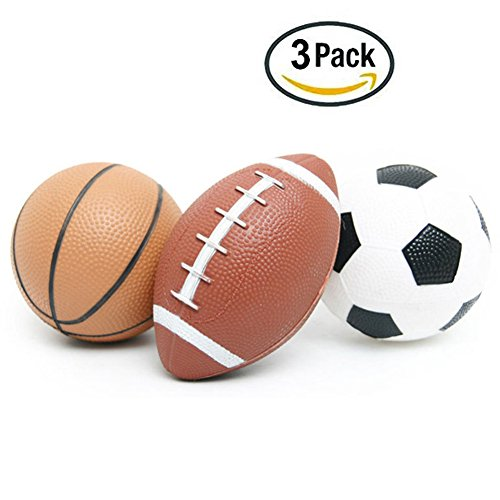 Super Durable 3pcs Balls Toy for Baby and Kids,Soft Inflatable Soccer Ball,Football,Basketball Toy Indoor/Outdoor Ball for Children Boys & Girls Funny Gift