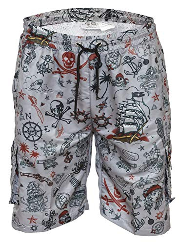 Funny Guy Mugs Mens Lightweight Quick Dry Swim Trunks with Mesh Lining and Zippered Pockets (Pirate, X-Large)]()