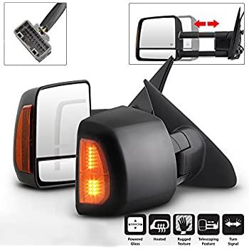 VIPMOTOZ Heated Power Remote Driver /& Passenger Side Left Right View LED Turn Signal Exterior Towing Mirror /& Glass Replacement For 2007-2018 Toyota Tundra Pickup Truck /& Sequoia