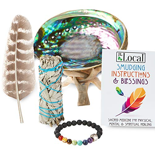 JL Local White Sage Smudging Kit Smudge Stick Gift Kit + Instructions & Blessings (Beginner's Kit)