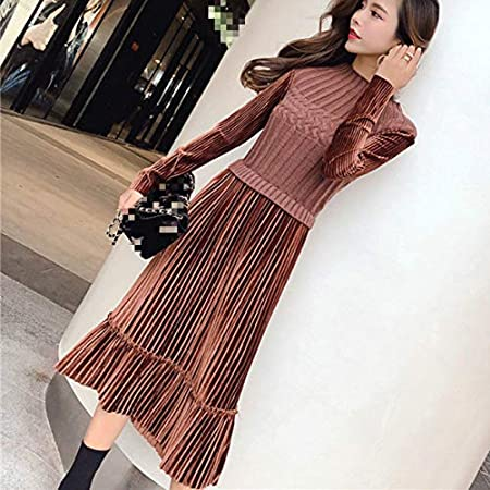 TSEINCE Stand Collar High Waist Hip Solid Patchwork Fake Two Pcs Knit Long Sleeve Dress Autumn Spring Pleat Clothes 47997