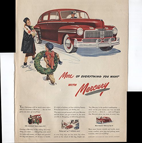 Mercury More Of Everything You Want With Mercury Like Roominess? Here's More Of It! Pickup And Go! 1947 Vintage Antique Advertisement