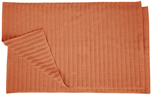 Superior Striped Bath Mat 2-Pack, 100% Combed Cotton, Luxury Spa Ribbed Texture, Durable and Washable Bathroom Mats - Copper, 22