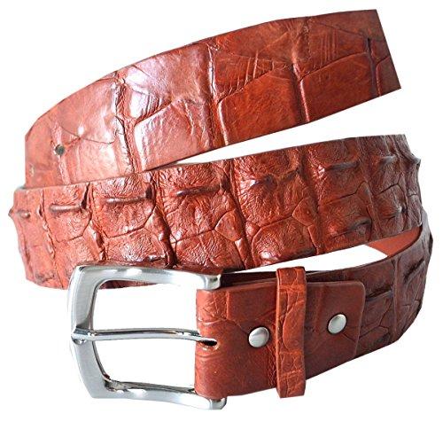 Authentic River Crocodile Skin Men's Big Hornback Pin Belt ()