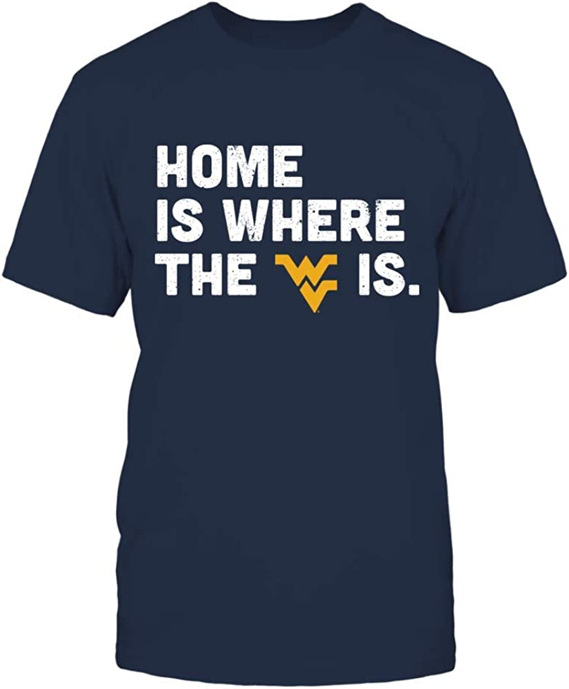 FanPrint West Virginia Mountaineers T-Shirt - Home is Where The Heart IsT-Shirt - Men's Tee/Navy/M